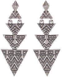House of Harlow 1960 - Pave Crystal Tiered Triangle Drop Earrings - Lyst