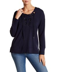 Cable & Gauge - Grommet Front Lace Up Hoodie - Lyst