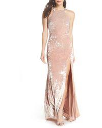 Xscape - Beaded Crushed Velvet Gown - Lyst