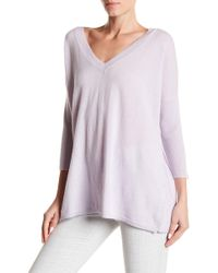 Subtle luxury Cashmere V-neck Side Button Down Sweater in Purple ...