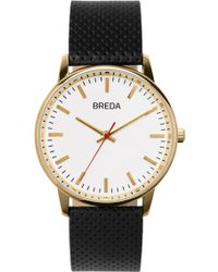 Breda - Men's Round Perforated Leather Strap Watch, 39mm - Lyst