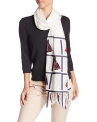 Tory Burch - Sailboat Embroidered Oblong Scarf - Lyst