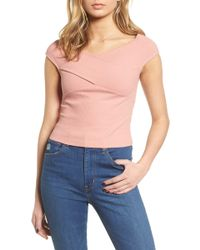 Lush - Crisscross Off The Shoulder Top - Lyst