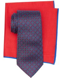 Ted Baker - Square Print Silk Tie & Pocket Square Set - Lyst