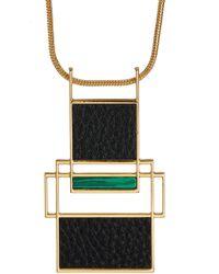Trina Turk - Leather & Malachite Geometric Pendant Necklace - Lyst