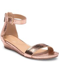 Kenneth Cole Reaction - Great Viber Metallic Leather Wedge Sandal - Lyst