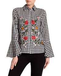Haute Rogue - Embroidered Bell Sleeve Gingham Top - Lyst