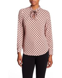 Adrianna Papell - Long Sleeve Tie Neck Blouse - Lyst