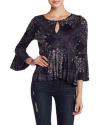 Lucky Brand - Printed Bell Sleeve Top - Lyst
