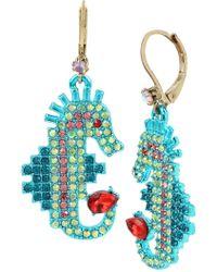Betsey Johnson - Stone Seahorse Drop Earrings - Lyst