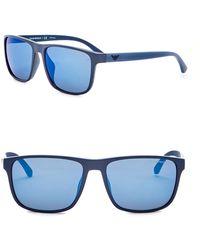 Emporio Armani - 59mm Rectangle Acetate Frame Sunglasses - Lyst