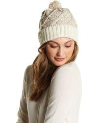 Muk Luks - Textured Diamond Knit Pompom Beanie - Lyst