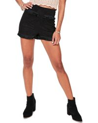 Missguided - Fringe Detail Faux Suede Shorts - Lyst