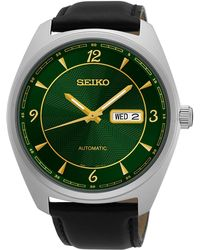 Seiko - Men's Stainless Steel Mechanical Leather Watch - Lyst