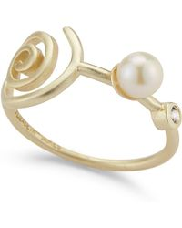 Elizabeth and James - Knox White Topaz & Freshwater 5mm Pearl Squiggle Ring - Lyst