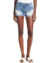 Dex - Embroidered Denim Shorts - Lyst