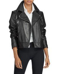 Ralph Lauren - Asymmetrical Front Zip Lambskin Leather Jacket - Lyst
