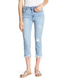 C&C California Asymmetrical Frayed Hem Cropped Jeans - Blue