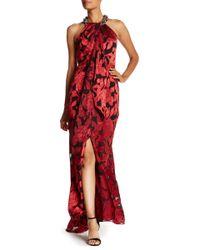 Ignite - Beaded Neck Cascade Hi-lo Print Gown - Lyst
