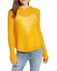 db4b04bfc0c7 Lyst - Moon River Sheer Knit Raglan Sweater in Pink