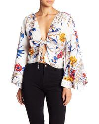 Haute Rogue - Floral Tie Front Blouse - Lyst