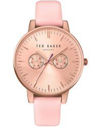 Ted Baker - Dress Sport Multifunction Leather Strap Watch, 40mm - Lyst