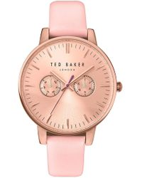 Ted Baker - 'dress Sport' Multifunction Leather Strap Watch, 40mm - Lyst