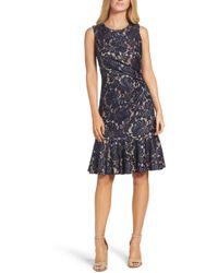2f7d317e Lyst - Eliza J Metallic Jacquard Sleeveless Fit & Flare Dress in Blue