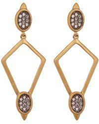 Freida Rothman - Contemporary Deco Cz Accent Open Diamond Drop Earrings - Lyst