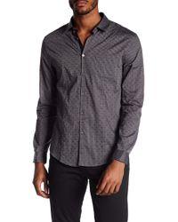 John Varvatos - Chest Patch Pocket Patterned Slim Fit Shirt - Lyst