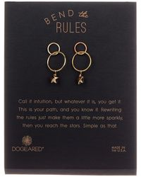 Dogeared - 'bend The Rules' Double Ring Dangling Star Drop Earrings - Lyst