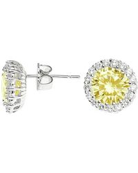 CZ by Kenneth Jay Lane - Yellow Solitaire Cz & Halo Round Stud Earrings - Lyst