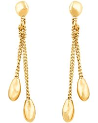 Uno De 50 - Gold Plated Micron Silver Double-chain Drop Earrings - Lyst