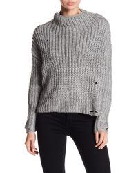 d165781a01f Dress Forum - Mock Neck Distressed Knit Sweater - Lyst