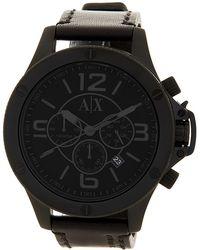 Armani Exchange - Men's Chronograph Leather Strap Watch - Lyst