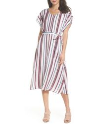 Charles Henry - Belted Button Down Midi Dress - Lyst