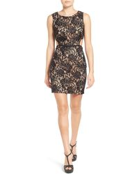 Way-in - Illusion Lace Body-con Dress - Lyst