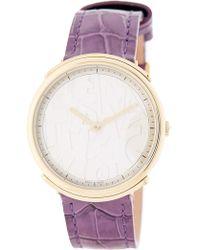 Ferragamo - Women's Logomania Croc Embossed Leather Watch, 35mm - Lyst