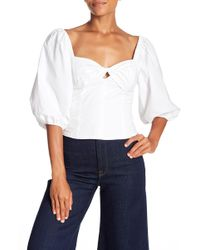 1.STATE - Cropped Knot Neck Puff Sleeve Top - Lyst