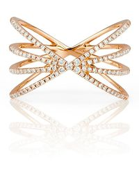 EF Collection - 14k Rose Gold Pave Diamond Sunburst Ring - Size 7 - 0.30 Ctw - Lyst