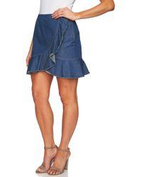 Cece by Cynthia Steffe - Cascading Ruffle Denim Skirt - Lyst