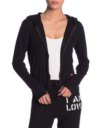 Peace Love World - Ribbed Zip Up Hoodie - Lyst