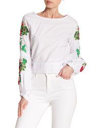 Haute Rogue - Embroidered Bishop Sleeve Tie Back Crop Top - Lyst