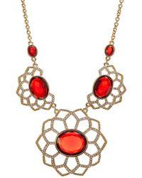 Carolee - Open Work Flower Bib Necklace - Lyst