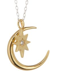 Argento Vivo - Two-tone Crystal Accented Star & Moon Pendant Necklace - Lyst