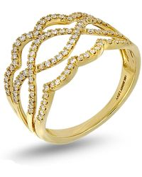Bony Levy - 18k Yellow Gold Wavy Diamond Band Ring - 0.22 Ctw - Lyst