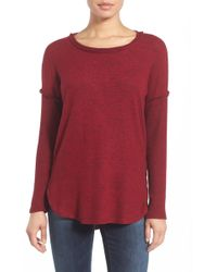 Bobeau - Rib Long Sleeve Fuzzy Top (regular & Petite) - Lyst