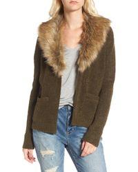 Hinge - Faux Fur Collar Cardigan - Lyst