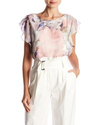 Vince Camuto - Diffused Bloom Ruffle Sleeve Blouse - Lyst