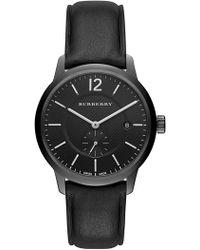 Burberry - Men's Swiss Black Leather Strap Watch 40mm Bu10003 - Lyst